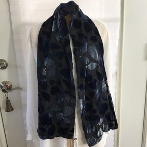 BLUE AND BLACK Silk Burnt Velvet Scarf